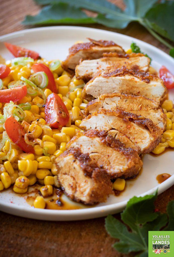 Recette de salade de Poulet Fermier des Landes croustillant au maïs