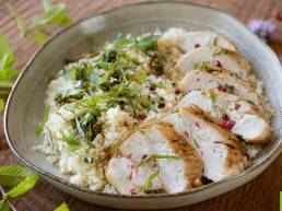 Recette de salade de Poulet Fermier des Landes à la semoule mentholée