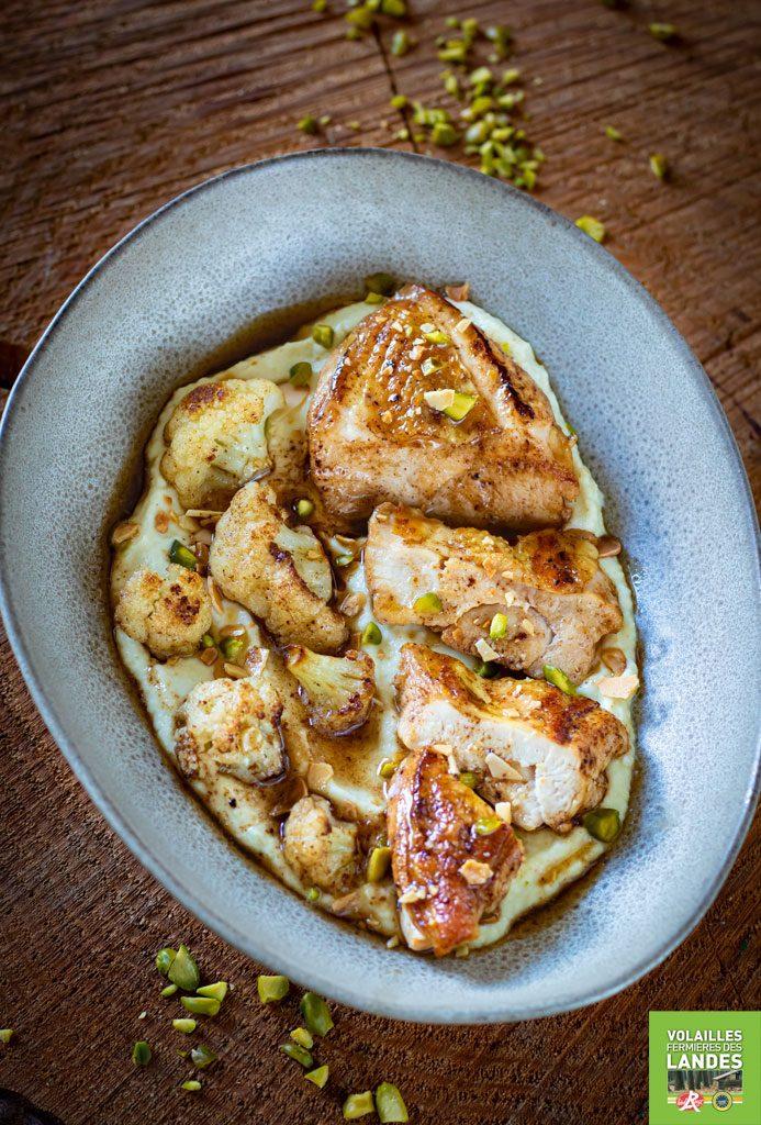 Recette de filet de poulet fermier des Landes, crème de chou-fleur au curry