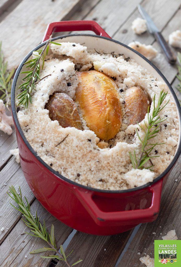 Poularde fermière des Landes en croûte de sel