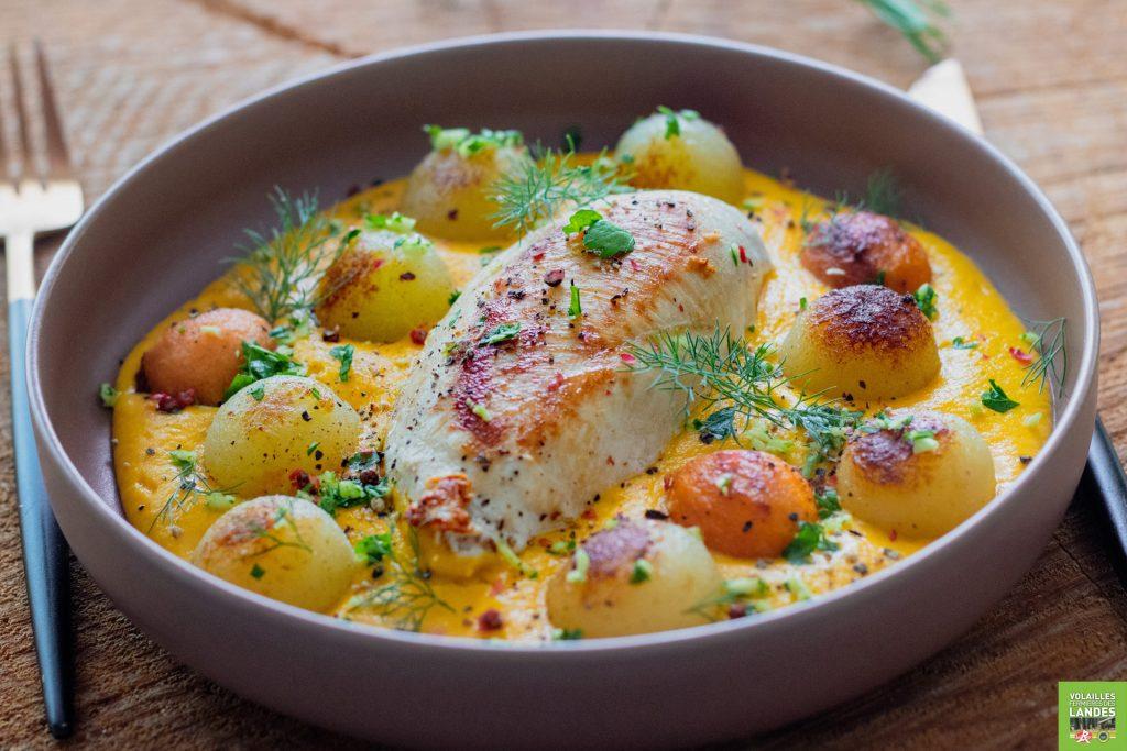 Volailles Fermières des Landes, filet cuisiné aux pommes de terre