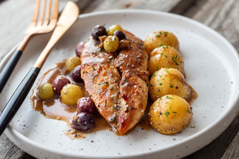 Filet de Poulet Fermier des Landes cuisiné avec sa sauce à l'Armagnac